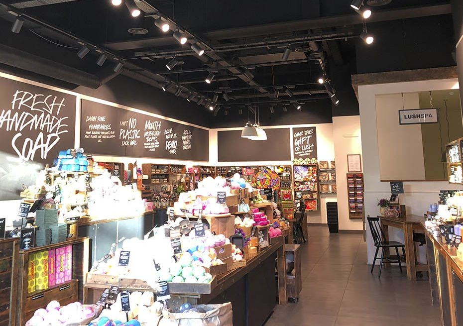 Lush store open ceiling ventilation and AC system